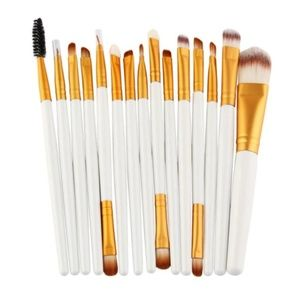 Other - 15 pc White & Gold Makeup Brush Set With Case NEW!